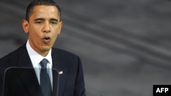 Лауреат Нобелевской премии мира, президент США Барак Обама выступает на церемонии в Осло, 10 декабря 2009 года