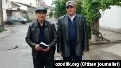 Өзбекстандық құқық қорғаушы Фахриддин Тиллияев (оң жақта) белсенді Азам Тургуновпен бірге.