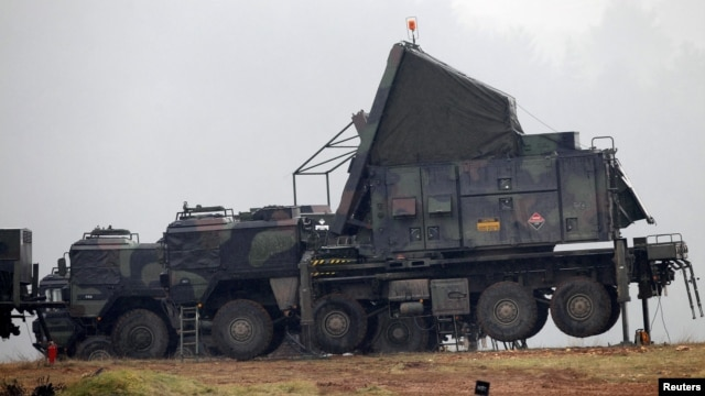 German military vehicles carrying equipment for NATO Patriot missiles are deployed at a military base in Kahramanmaras, Turkey, in January 2013.