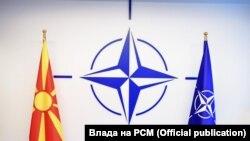 Знамињата на Северна Македонија и НАТО во седиштето на НАТО