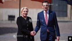 Premierul polonez Mateusz Morawiecki la primirea omologului său român, Viorica Dăncilă la Varșovia