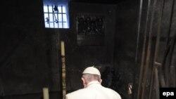 При посещения Освенцима папа римский молился в камере Максимилиана Кольбе