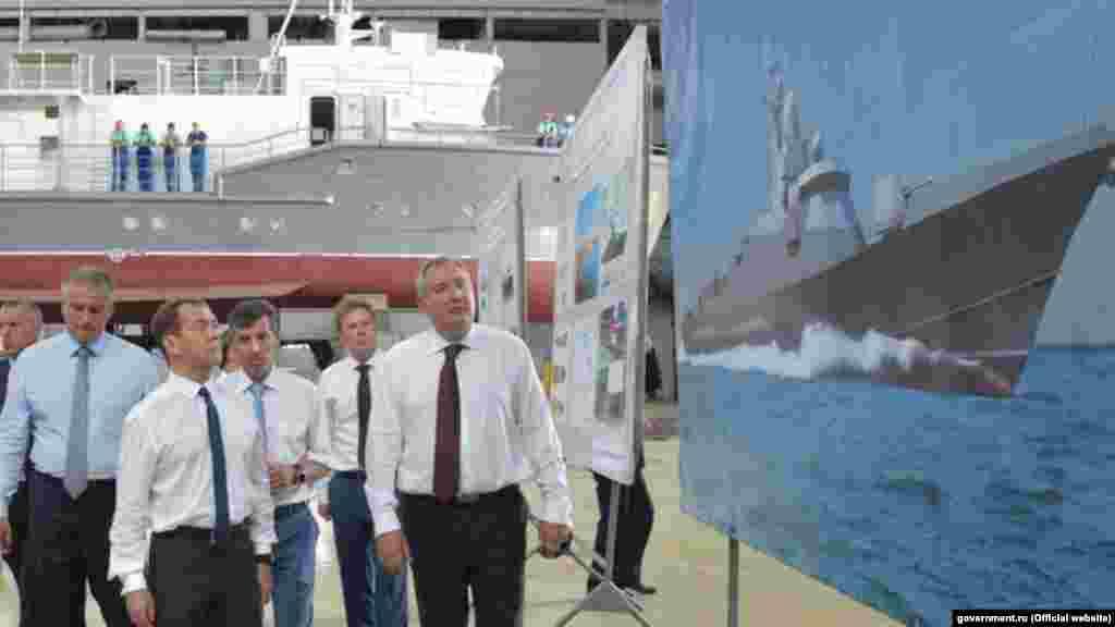 Премьер-министр России Дмитрий Медведев посетил судостроительный завод «Море» в Феодосии