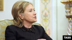 U.S. Secretary of State Hillary Clinton speaks during her meeting with Russian Prime Minister Vladimir Putin outside Moscow in March 2010.