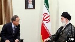 Генеральный секретарь ООН Пан Ги Мун и духовный лидер Ирана аятолла Али Хаменеи
