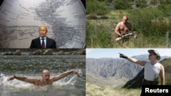 Power man? Putin flexes his muscles.