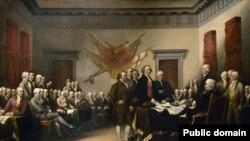 نقاشی «بیانیه استقلال» از جان ترامبول که در آن بینانگذران آمریکا به تصویر کشیده شدهاند.