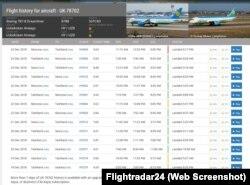 Flightradar24 қайд рақами UK78702 бўлган Dreamlinerнинг сўнгги марта 24 декабрь куни Москвадан Тошкентга учганини тасдиқлайди.