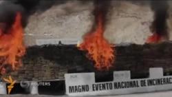 Мексика чегарасида 70 тоннадан ортиқ наркотик ëқиб юборилди