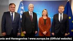 Članovi Predsedništva BiH i šefica evropske diplomatije Frederica Mogherini, Brisel