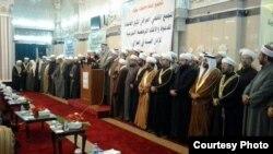 """أئمة وخطباء من ست محافظات يعلنون في جامع الإمام الأعظم """"المجمع الفقهي العراقي"""" مرجعية شرعية لأهل السنة في العراق."""