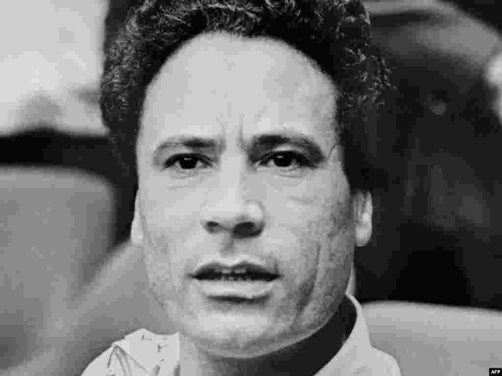 Qaddafi is pictured during the summit of the Organization of African Unity in Kampala, Uganda, in August 1975.