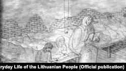 Иллюстрация Гинтаутаса Мартинайтиса «Урок литовского в бараке»
