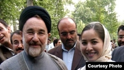Roxana Saberi (right) with former President Mohammad Khatami