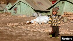 Ирактағы босқындар лагеріндегі босқын езидтер отбасының баласы. Шихан, 19 қаңтар 2015 жыл.