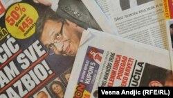 Pamje e disa gazetave në Serbi