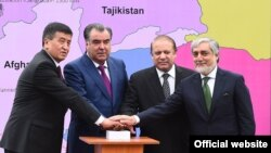 FILE: From Left to right then Kyrgyz Prime Minister Sooronbai Jeenbekov, Tajik President Emomali Rahmon, former Pakistani PM Nawaz Sharif, and Afghan Chief Executive Abdullah Abdullah attend a groundbreaking ceremony for the CASA-1000 in Tajik city of Tursunzoda in May 2016.
