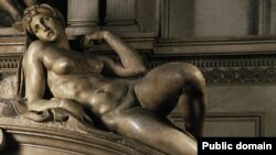 "Скульптура Микеланджело Буонаротти ""Утро"". Флоренция, Италия"