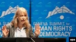 Мария Баронова выступает на женевском саммите по правам человека и демократии. Февраль 2015 года