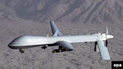 An MQ-1 Predator drone, photographed in flight by the U.S. Air Force over an undiclosed location.