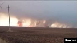 Пожар на военном складе под Харьковом.