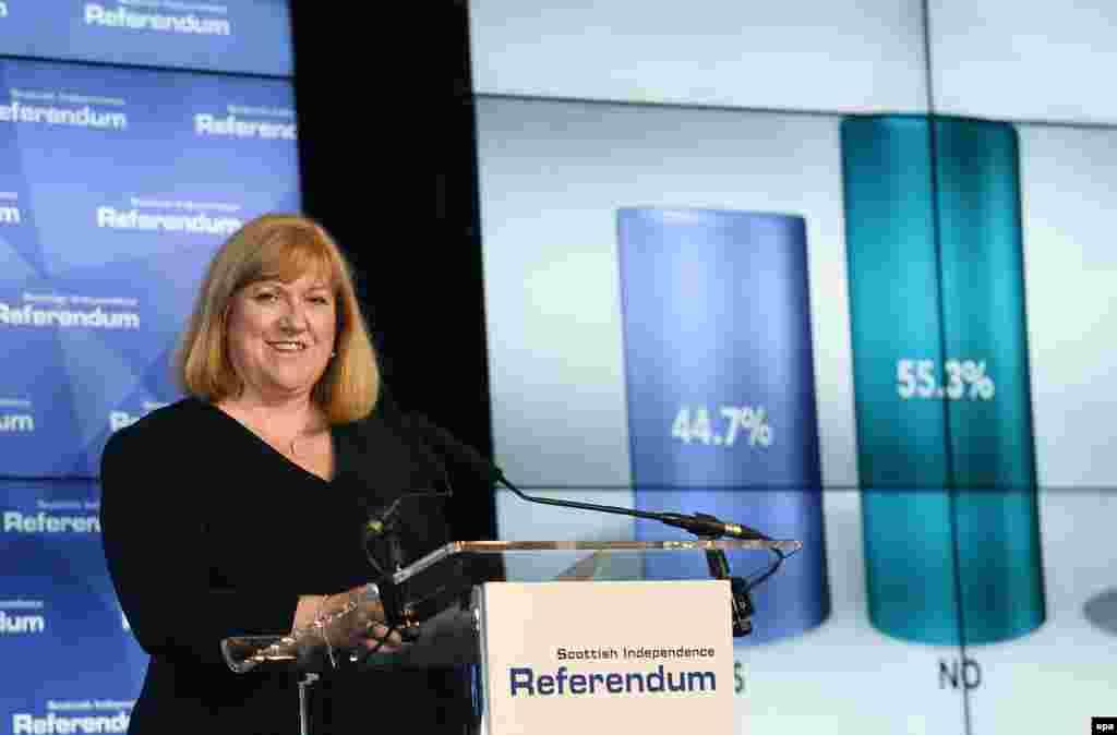 Великобритания. Глава избирательной комиссии Мэри Питкейтли заявила, что Шотландия проголосовала против независимости. 19.09.2014.