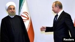 Ресей президенті Владимир Путин мен Иран президенті Хассан Роухани. Баку, 8 тамыз 2016 жыл.