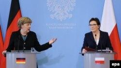 Германската канцеларка Ангела Меркел со полскиот премиер Ева Копач.