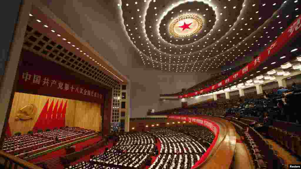 A general view shows delegates attending the opening ceremony of the 18th National Congress of the Communist Party of China at the massive Great Hall of the People in Beijing on November 8. (Reuters/Carlos Barria)