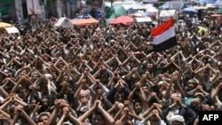 Участники акций протеста в Йемене