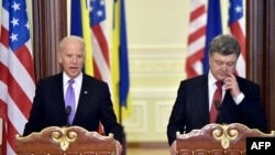 U.S. Vice President Joe Biden at a joint press conference with Ukrainian President Petro Poroshenko in Kyiv in November. (file photo)