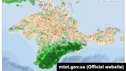 The map, issued by the Ukrainian ministry, purportedly shows Crimea's vegetation in 2018.