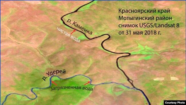Космоснимок Мотыгинского района