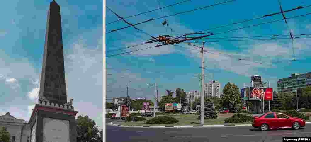 Долгоруковский обелиск в неизменном виде, а на площади Московской теперь транспорт несется сплошным потоком