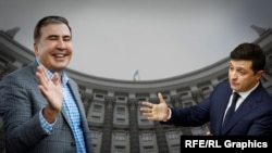 Ուկրաինայի նախագահ Վլադիմիր Զելենսկի, Վրաստանի նախկին նախագահ Միխեիլ Սաակաշվիլի, կոլաժ