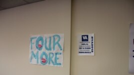 Самодельный плакат в одном из предвыборных штабов Барака Обамы в Вирджинии - остроумная игра слов означает в переводе