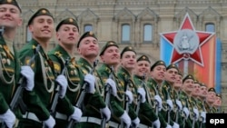 Russian military servicemen march along Red Square on Victory Day last year.
