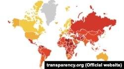 Transparency International ұйымының 2018 жылғы есебіндегі карта.