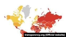 Карта, сопровождающая Индекс восприятия коррупции — 2018 международной организации Transparency International.