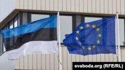 Флаги Эстонии и ЕС.