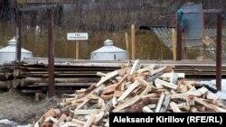 Дрова и резервуар для сжиженного газа в Мошенском, Новгородская область