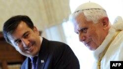 საქართველოს პრეზიდენტი მიხეილ სააკაშვილი ვატიკანში შეხვდა რომის პაპს ბენედიქტე XVI–ს