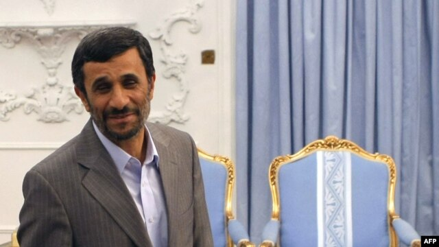 Iranian President Mahmud Ahmadinejad at the presidential palace in Tehran in June
