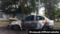 Сгоревшее авто в Бахчисарайском районе, 16 августа 2018 года