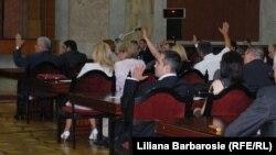 Imagine de la ședința Parlamentului de astăzi