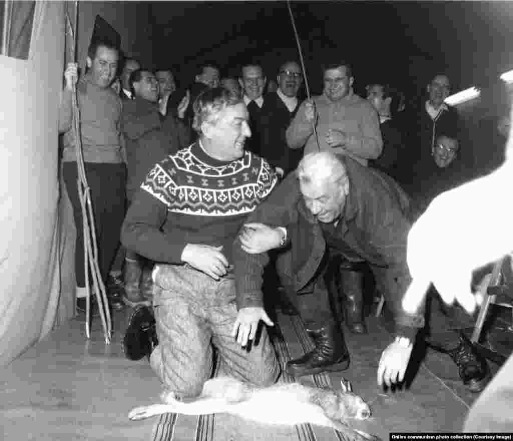 Oficialii români se pregătesc să fie bătuți cu un băț de Ceaușescu, în timp ce ei stau în fața unui iepure mort la o partidă de vânătoare în 1969.