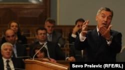 Premijer Milo Đukanović u Skupštini Crne Gore, 4. decembar 2012.