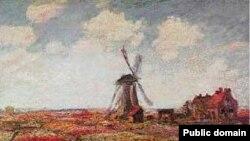 Клод Моне. Поле тюльпанов и мельница. 1886 год