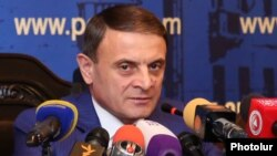 Armneia -- The chief of the Armenian police, Valeri Osipian, at a press conference in Yerevan, July 24, 2019.