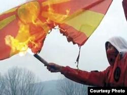 Paljenje makedonske zastave, Struga, 31. januar 2012.